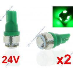 2 x t10 W5W 24v - 5 SMD LED grün
