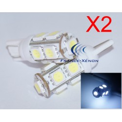 2 x white LED lamps 9 - SMD - 9 LED- t10 W5W