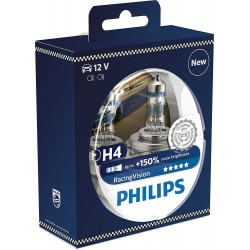 Pack 2 ampoules H4 Philips RacingVision + 150%  H4 1234RVS2