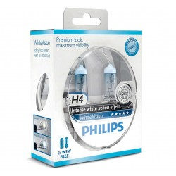 Pack 2 ampoules H4 Philips WhiteVision +60%  +2 Veilleuses WhiteVision