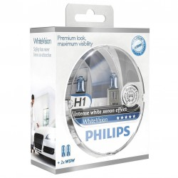 Pack 2 ampoules H1 Philips WhiteVision +60%  +2 Veilleuses WhiteVision