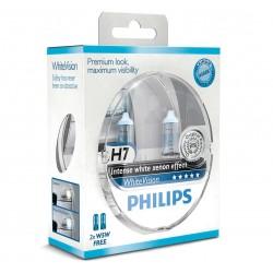 Pack 2 H7 lampadine Philips WhiteVision + 60% WhiteVision +2 pilota