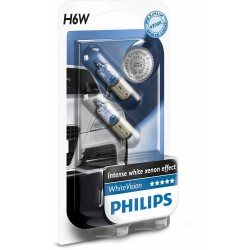 2 x Philips bulb H6W WhiteVision 4300K ​​- ba9xs lugs