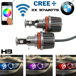 Colors changing RGB LED marker H8 e92 angel eye 30w canbus for bmw E60 E61 E63 E64 E87 X3 E39 E53 E65 E66