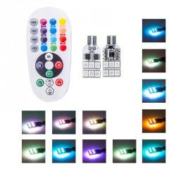 Pack 2 Birnen 12 LED RGB - W5W per Fernbedienung gesteuert
