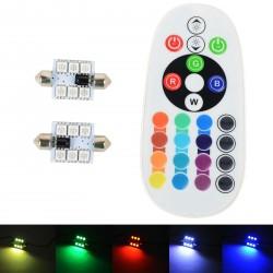 Paquete de 2 bombillas LED RGB - 6 C5W controlado por control remoto