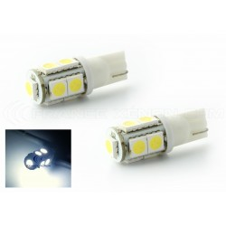 2 x weiße LED-Lampen 9 - SMD - 9 LED-t10 W5W