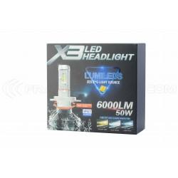 2 x H4 Bi-LED XT3 55W - 6000Lm - FANLESS 12V/24V