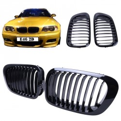 2x grids grille bmw e46 - series 3 - 2 doors - Black 98-01
