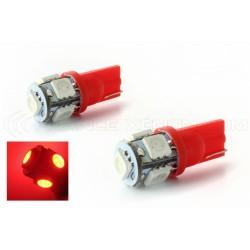 2 x Leuchtmittel 5 rote LEDs - SMD LED - 5 LED - T10 W5W