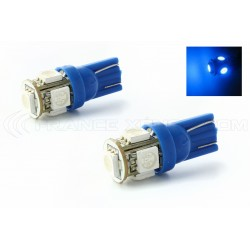 2 x AMPOULES 5 LEDS BLEUES - LED SMD - 5 led- T10 W5W