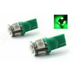 2 x Leuchtmittel 5 LEDS grün - LED SMD - 5 LED- T10 W5W