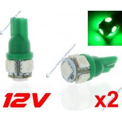 2 x BULBS 5 LEDS GREEN - LED SMD - 5 led- T10 W5W