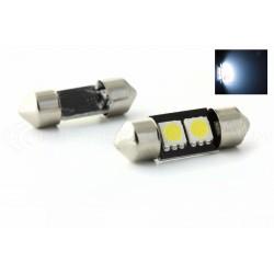 2 x AMPOULES C3W - 2 LEDS SMD anti-erreur - Navette 31mm