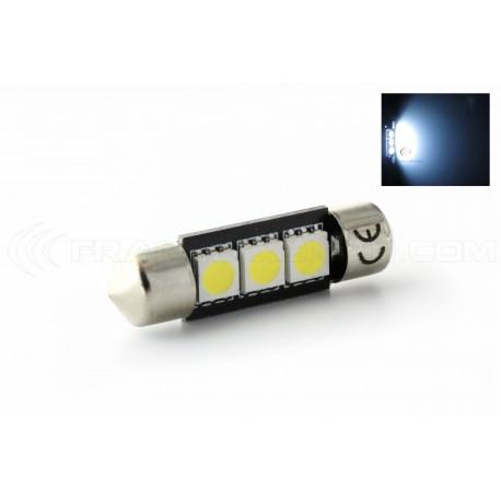2x Ford Focus MK2 C5W lumineux led blanc xenon 3smd canbus ampoules plaque minéralogique