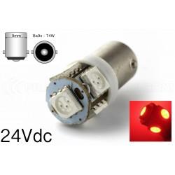 1 x 5 red LED bulb - T4W BA9S - 24v