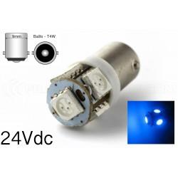 1 x 5 Blue LED bulb - T4W BA9S - 24v