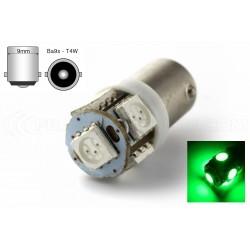 1 x AMPOULE 5 LED VERT - T4W BA9S