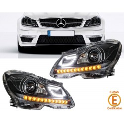 LOT 2 PHARES LED MERCEDES CLASSE C W204 11-14 Noir