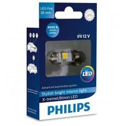 1x Festoon Philips 10.5x38 LED X-Treme Ultinon 4000K 12V C5W