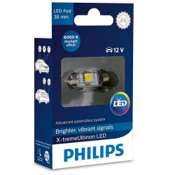 1x Festoon Philips 10.5x38 LED X-Treme Ultinon 6000K 12V C5W