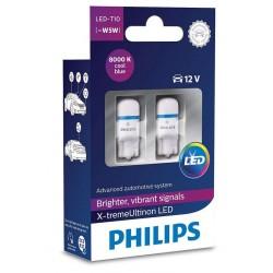 2 bulbs t10 philips x-treme ultinon vision led 8000k