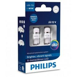 2 bulbs t10 philips x-treme ultinon vision led 6000k