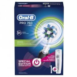 ORAL-B PRO 760 BLACK Brosse à Dents Électrique Rechargeable par Braun, 1 Manche, 2 Brossettes + étui cadeau
