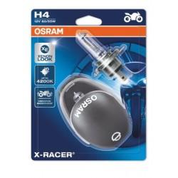 2x OSRAM X-RACER H4 Halogène, lampe de phare pour moto, 64193XR-02B, blister double avec casque de moto miniature