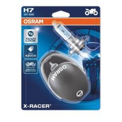 2x OSRAM X-RACER H7 Halogène, lampe de phare pour moto, 64210XR-02B, blister double avec casque de moto miniature