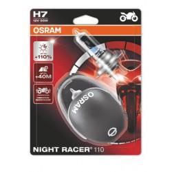 2x OSRAM NIGHT RACER 110 H7 Halogène, lampe de phare pour moto, 64210NR1-02B, blister double avec casque de moto miniature