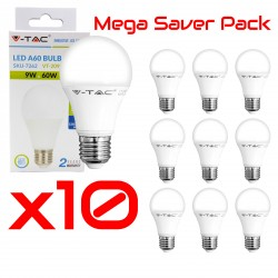 Pack Mega Saver 10x Ampoules LED - 9W E27 4000K A60 Natural White