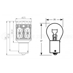 2x Ampoules XENLED V2.0 30 LED SAMSUNG - P21W - CANBUS Performance