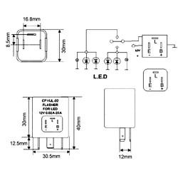 Relais CF14 JL-02 Einstellbarer Blinker LED 12V Flasher Motorrad Auto 12V 0.02A bis 20A