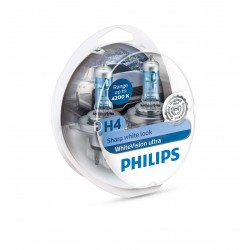 PACK 2 AMPOULES H4 PHILIPS WHITEVISION ULTRA +2 VEILLEUSES WHITEVISION