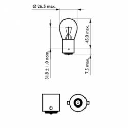 Ampoule Philips P21W Standard 12498CP BA15s 21W 12V