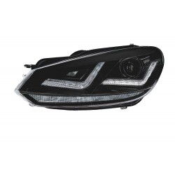 2x headlights golf vi - black edition, headlight xenon retrofit + fire circu