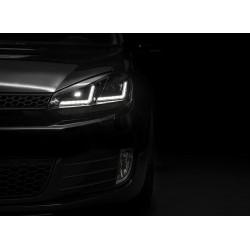 2x phares Golf VI - Black Edition, phare Xénon retrofit + feu de circulation diurne LED, LEDHL102-BK,  droite + gauche