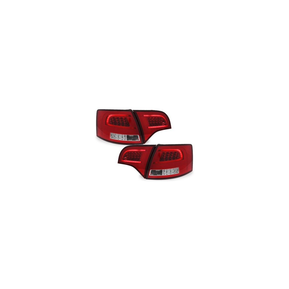 LED taillights Audi A4 Avant B7 04-08_red/chrome