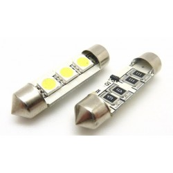 2 x AMPOULES 3 LEDS SMD anti-erreur - Navette 37mm
