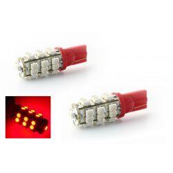 2 x 25 LEDs bulbs RED - LED SMD - T10 W5W