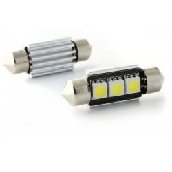 2 x Festoon bulb 37 mm - with 3 Leds SMD C5W C7W  Error Free and Heat Sink