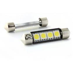 2 x AMPOULES C10W - 4 LEDS SMD anti-erreur - Navette C10W 42mm
