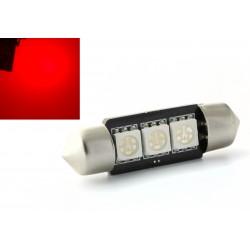 1 x AMPOULE C5W C7W - 3 LEDS ROUGE anti-erreur - Navette 37mm
