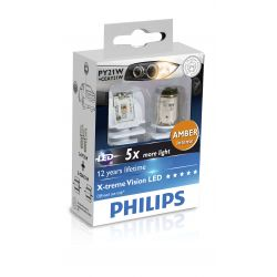 2x PY21W Philips X-tremeVision LED Automotive Signal Lamp 12764X2
