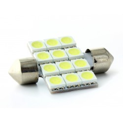 1 x Festoon led bulb 12 LEDS SMD - C5W C7W 37mm Festoon