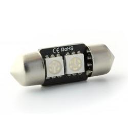 1 x AMPOULE C3W - 2 LEDS VERT anti-erreur - Navette 31mm