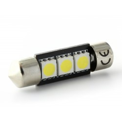 Festoon bulb 37 mm - 3 Green Leds SMD C5W C7W  Error Free