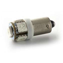 1 x 5 red LED bulb - T4W BA9S