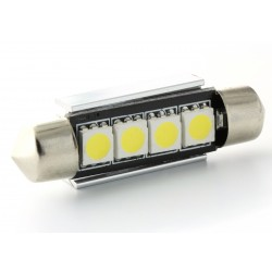 Festoon bulb 42 mm - with 4 Leds SMD C5W C7W  Error Free and Heat Sink